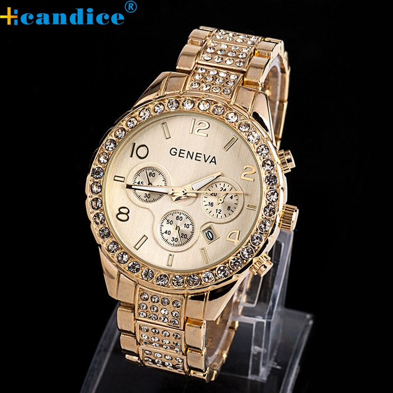 Brand New Geneva Watch Women Rose Gold Fashion Luxury Crystal Quartz Wristwatches Splendid geneva new jd mk