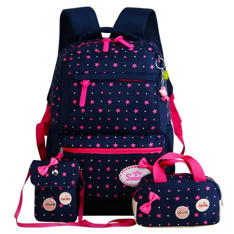3pcs/set Star Printing Children School Bags For Girls Teenagers Backpacks Kids Orthopedics Schoolbags Backpack Mochila Infantil