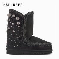 HALINFER eskimo 24 back studs winter women snow boots high quality sheepskin Girl's ankle boots zapatos mujer