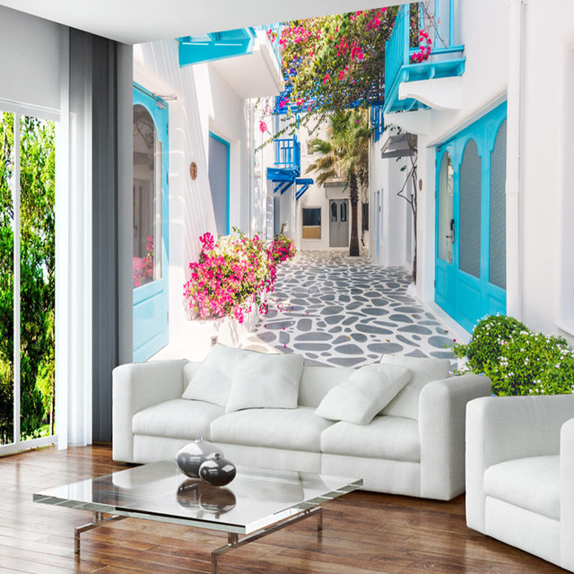 3D Photo Wallpaper Romantic Wall Murals Landscape Greek Santorini