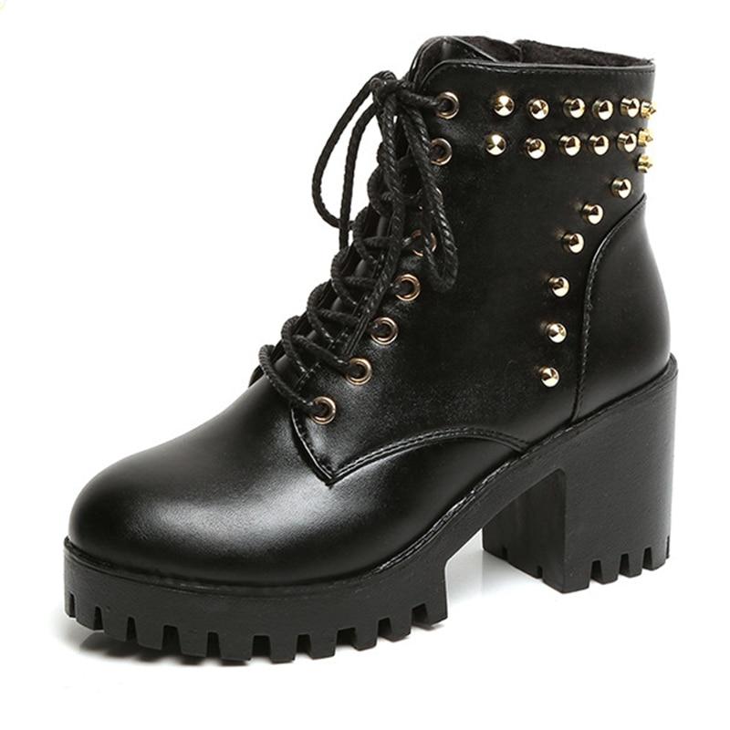 New Women s font b boots b font Ankle font b Boots b font Motorcycle Rivets