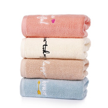 34x75cm 100% Cotton Towel Embroidered Words Soft Absorbent Washcloth Bathroom Family Hand Towel недорого