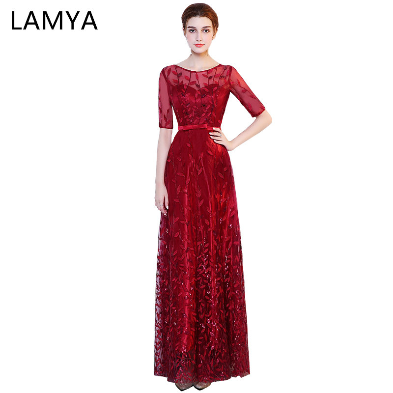 Lamya Long Elegant Sequined Prom Dresses 2019 Half Sleeve Evening Party Dress Sequined Formal Gown vestido de festa longo