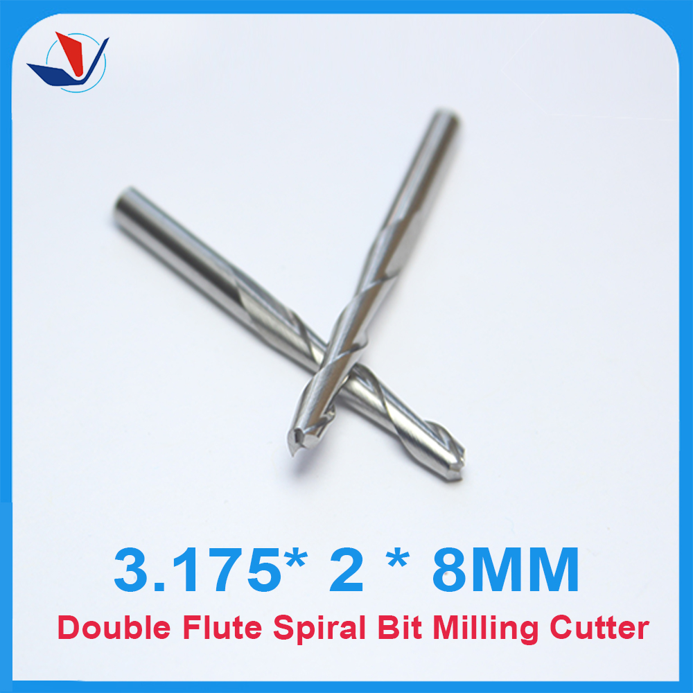 Free Shipping 10pcs Carbide CNC Router Bits Two Flutes Spiral End Mills Double Flutes Milling Cutter Spiral PVC Cutter3.2.8MM
