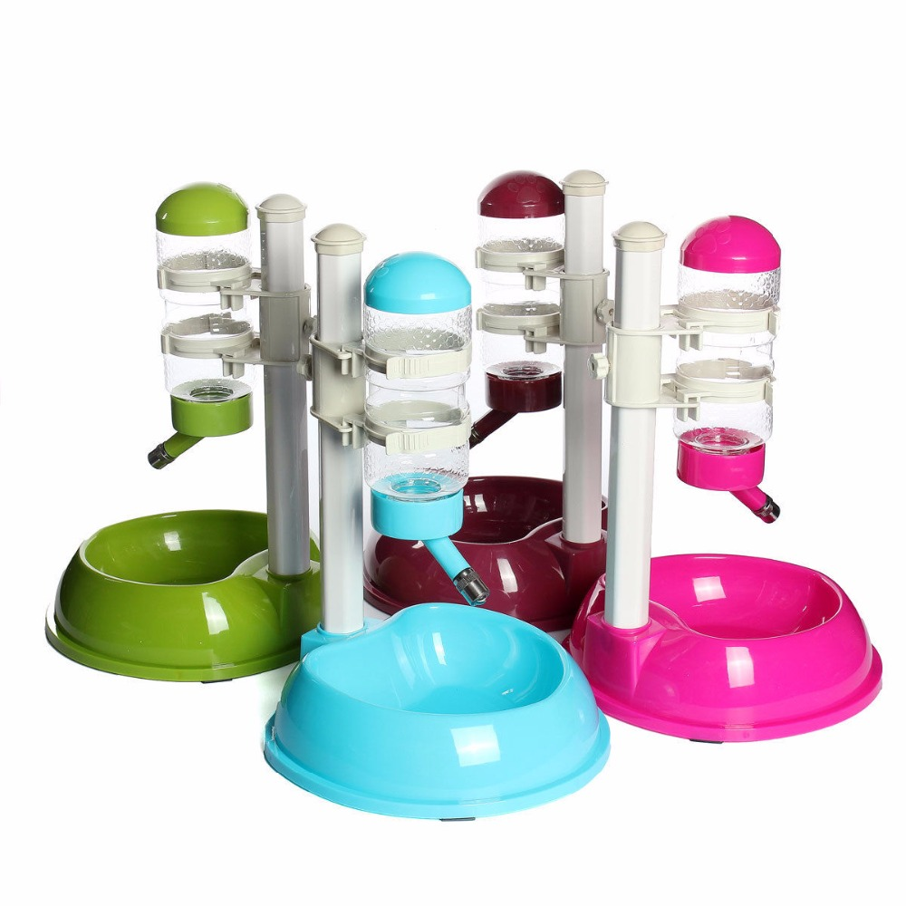 New Pet Cat Dog Automatic <font><b>Water</b></font> Drinker Dispenser <font><b>Food</b></font> Stand Hamster Feeder Dish Bowl Bottle 3 Colors