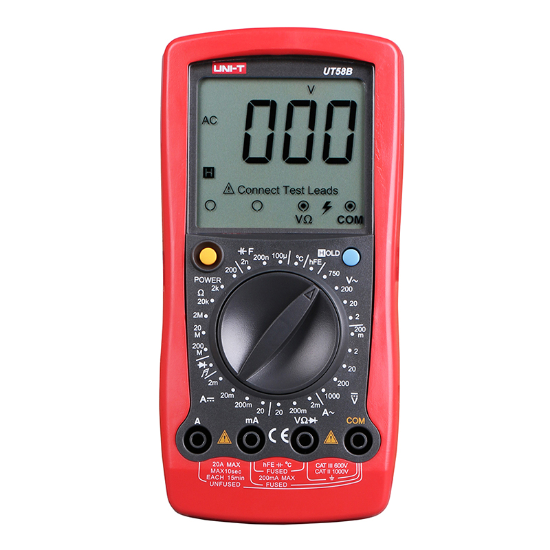 ФОТО UNI-T UT58B Digital Multimeter Ammeter Ohm Volt Meter Capacitance Temperature Digital Universal Meter LCD Count 1999 AVO Meter