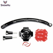 цена на SnowHu 360 Degree Rotating Helmet Mount + Extension Arm + 3M Adhesive Sticker for Gopro Hero 7 6 5 4  for XIaomi Yi SJCAM GP113