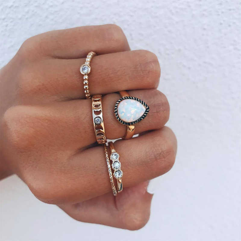 New Ring Fashion Popular Personality Wild Sweet Simple Moon Drop Ring Combination Retro Hot Sale Jewelry Wholesale