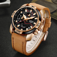 2019 LIGE Mens Watches Top Brand Luxury Men's Military Sports Watch Men Casual Leather Waterproof Quartz Clock Relogio Masculino