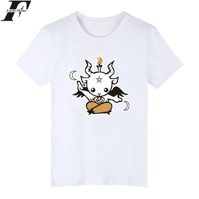 LUCKYFRIDAYF Satanás de Dibujos Animados Camisetas hombres de Manga ...