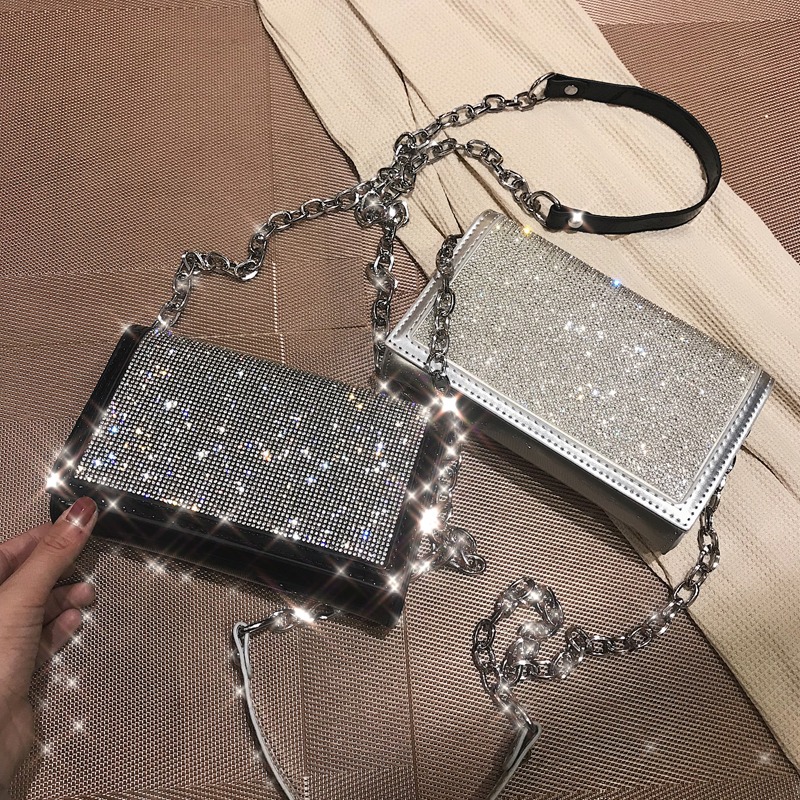 Fashion Silver Satin Women Shoulder Bags Designer Chain Shiny Diamonds Female Crossbody Bags Small Flap Lady Purses Lady Totes