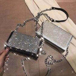 Moda prata cetim bolsas de ombro feminina designer corrente diamantes brilhantes feminino crossbody sacos pequena aba senhora bolsas senhora totes