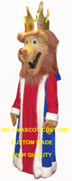 king lion mascot costume high quality new red mane golden crown royal lion theme anime cosplay costumes carnival fancy 2722