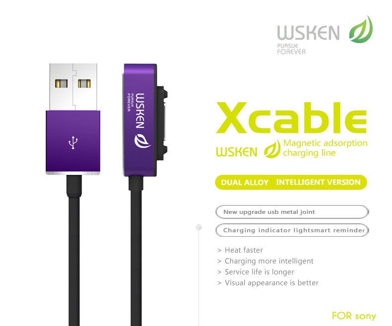 Original WSKEN X Cable Double Metal Intelligent Version Magnetic Cable For Sony Xperia Z1 Z2 Z3