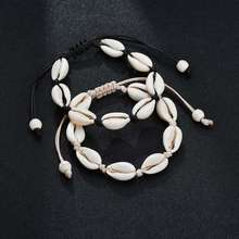 Black White Wind Girl Shell Charm Bracelet Ladies Beach Ornaments Handmade Rope Jewelry Gifts-SL101