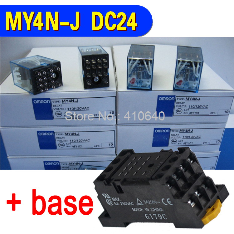 Good quality MY4N-J intermediate relay AC with contact capacity 5A 250V and DC 5A 30V 14 Pin with good quality socket base