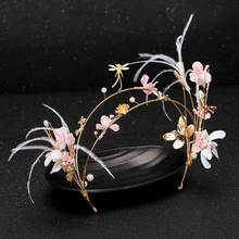 2016 New Gorgeous Pink Flower Feather Headband Pearl Jewelry Hairband Tiara Bridal Headpiece Wedding Hair Accessories Ornaments
