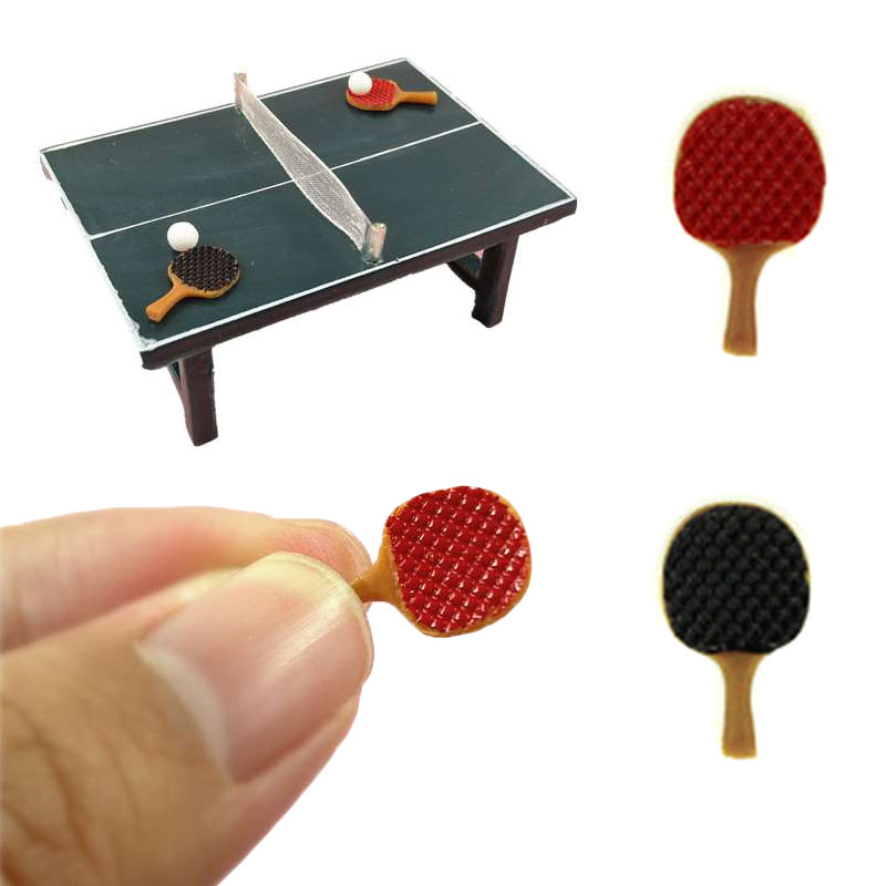 Dollhouse Miniature Accessories Mini Table Tennis Racket With Ball Simulation Furniture Ping-pong Toys For Doll House Decor
