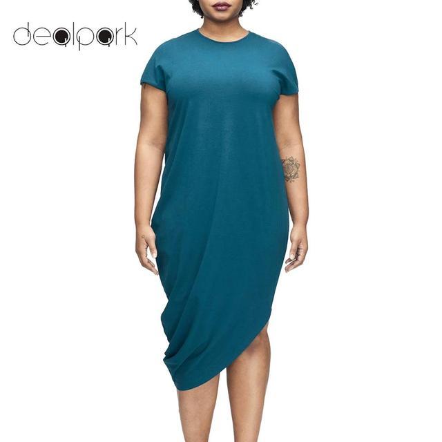 62ae1e22fc08 2018 Summer Fashion Women Plus Size Bodycon Dress Solid O Neck Short Sleeve  Irregular Hem Loose