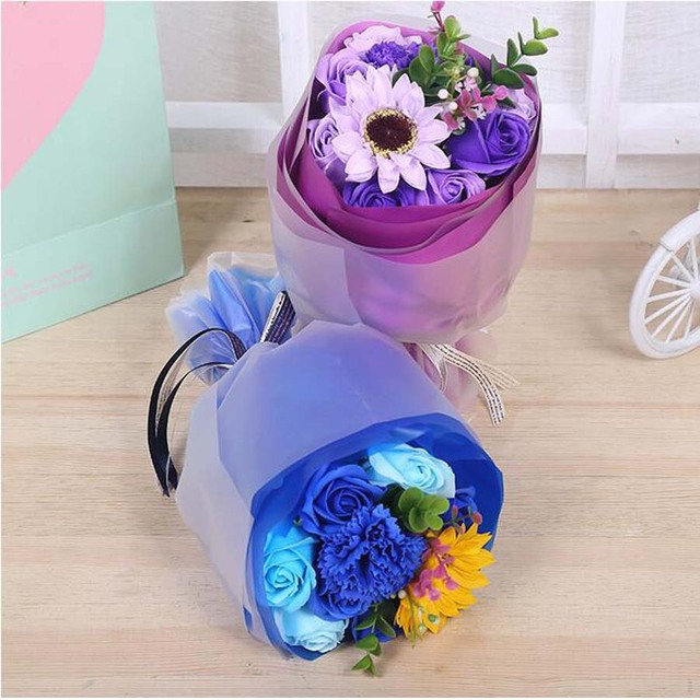 High quality simulation royal blue soap rose fragrance bouquet ...