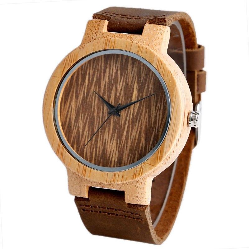 0c49a25e485 2017 de Bambu Casuais Simples Dial Pulseira de Couro Genuíno Strap Quartz  Relógio de Pulso Dos Homens Do Esporte Ao Ar Livre De Madeira Relógios  Relogio ...