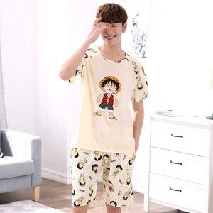 Image 4 - Мужская пижама с короткими рукавами Yidanna, Хлопковая пижама с принтом в виде фигуры, Повседневная Ночная рубашка для отдыха на лето