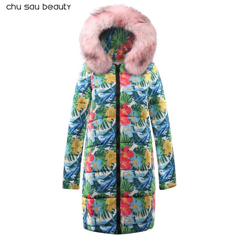 Winter Female Long Jacket 2019 Winter Coat Women Fake Fur Collar Warm Woman Parka Outerwear Down