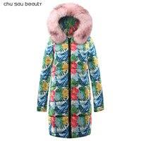 Зимняя женская длинная куртка 2018 зимнее пальто Женский Искусственный меховой воротник теплая Женская парка верхняя одежда пуховик зимняя