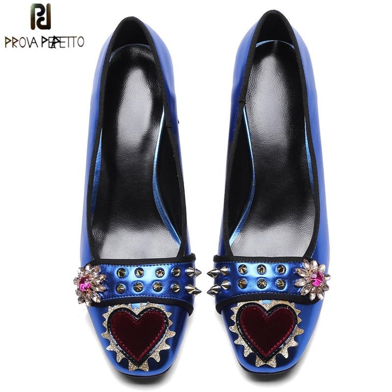 Prova Perfetto Spring Autumn Women Shoes Rivet Rhinestone Red Heart Shoes Woman Square Toe Chunky Heels