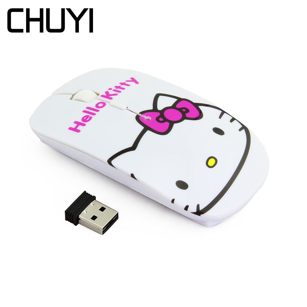 CHUYI Wireless Mouse Hello Kitty/Spider Web/British Flag Ultra Thin Computer Mouse 1600DPI USB Optical Slim Mause Mice For Girl недорго, оригинальная цена