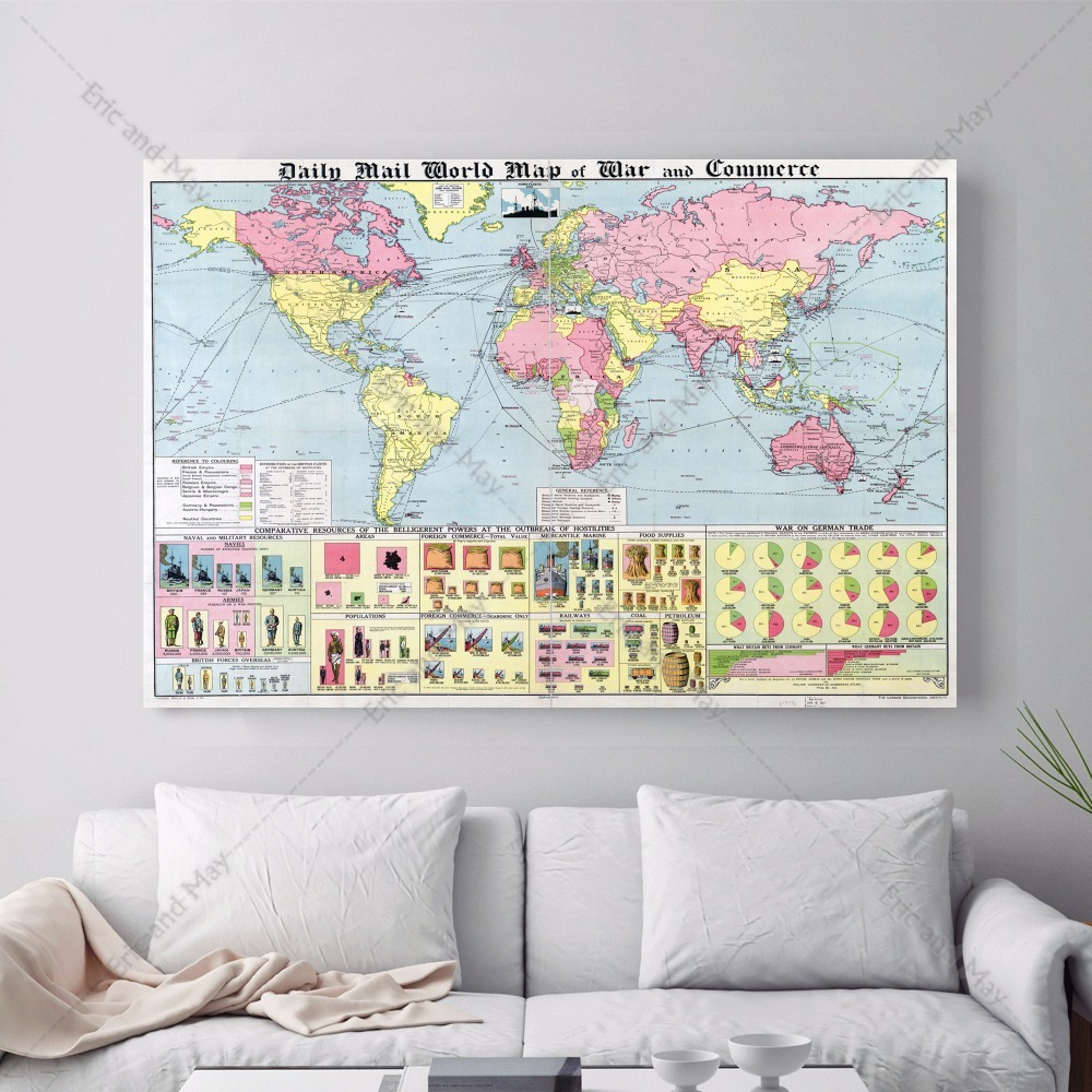Vintage Map Of The World Canvas Art Print Painting Poster Wall Pictures For Home Decoration Bedroom Decor No Frame Picture in Painting Calligraphy from Home Garden
