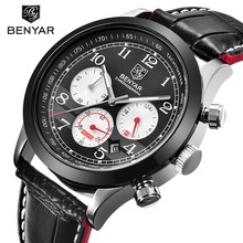 Benyar deporte de los hombres relojes de primeras marcas de lujo de cuero reloj cronógrafo de cuarzo de los hombres a prueba de agua con 3 diales hombres reloj de pulsera de reloj