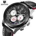 Benyar homens esporte relógios top marca de luxo de couro quartz chronograph homens relógio à prova d' água com 3 mostradores de relógio de pulso relógio masculino