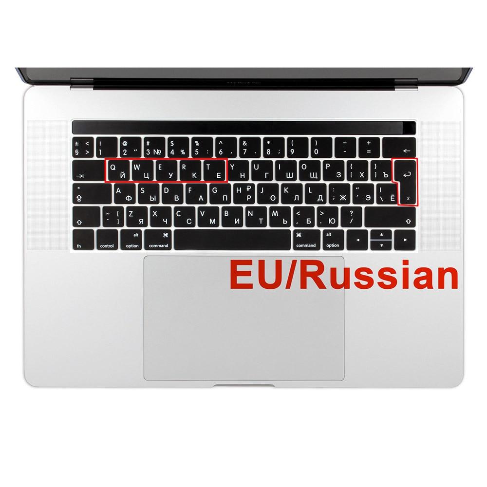 Cubierta de teclado de idioma ruso de la UE para MacBook Pro 13 15 con Touch Bar Silicone Skin A1706 A1707 ruso / inglés cirílico