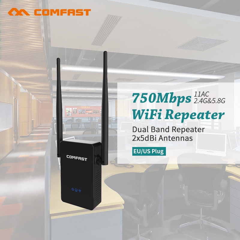 Wireless WIFI Repeater 750Mbps Dual Band Router 2.4G+5GHZ WIFI Repeaters 802.11AC Wi fi Roteador Extender COMFAST Wifi Amplifier