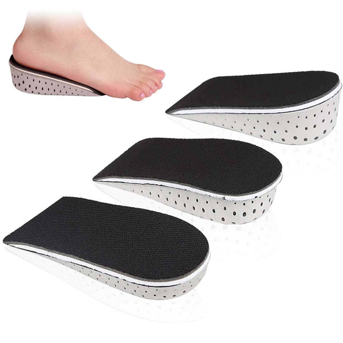1 Pair 2-4cm Comfortable Orthotic Shoes Insoles Inserts High Arch Support Pad for women men Lift Insert Pad Height Cushion image