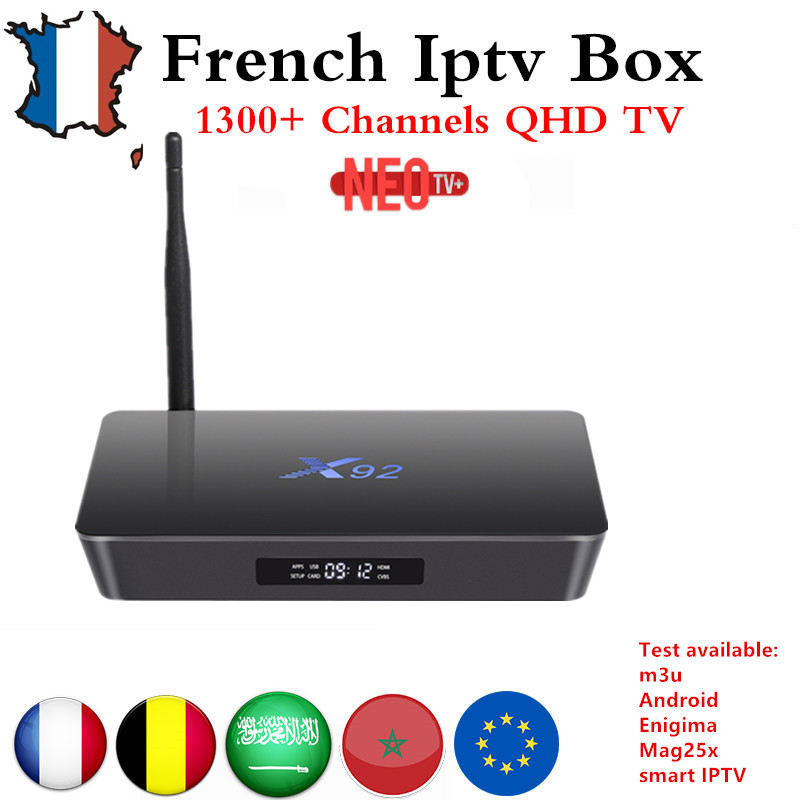 French IPTV box X92 android tv box 7.1 s912 with 1200+NEO IPTV Europe French Arabic africa Tunisia Morocco PayTV Smart IP TV Box mag250 linux system set top box usb wifi with neo iptv french iptv arabic tunisia morocco belgium channels paytv
