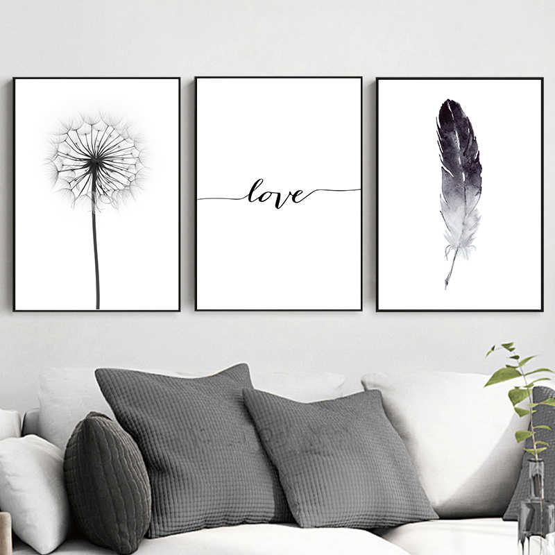 Black And White Dandelion Feathers Poster Print Letter Love Nordic Fashion Wall Art Canvas Painting Picture Home Decoration