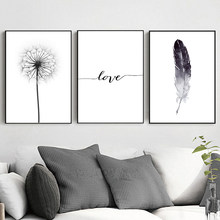 Black And White Dandelion Feathers Poster Print Letter Love Nordic Fashion Wall Art Canvas Painting Picture Home Decoration(China)