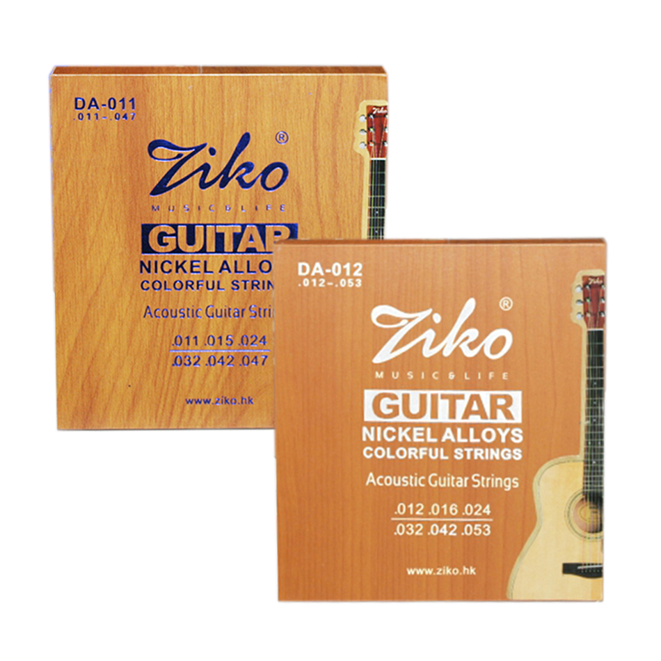 ZIKO DA Series 011-047 012-053 Inch Acoustic Guitar Strings Nickel Alloys Color Wound Korea Hexagon Core Gift Pins Puller Picks
