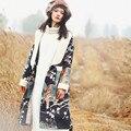 AIGYPTOS AA Original Design Winter Women Novelty Personality Oriental Exotic Ethnic Print Lambswool Large Lapel Long Wool Coat