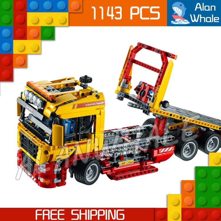1143pcs 2in1 Techinic Electric Flatbed Truck 20021 DIY Model Building Kit Blocks Transport Car Carrier Toys Compatible With lego 1060pcs 2in1 techinic motorized heavy