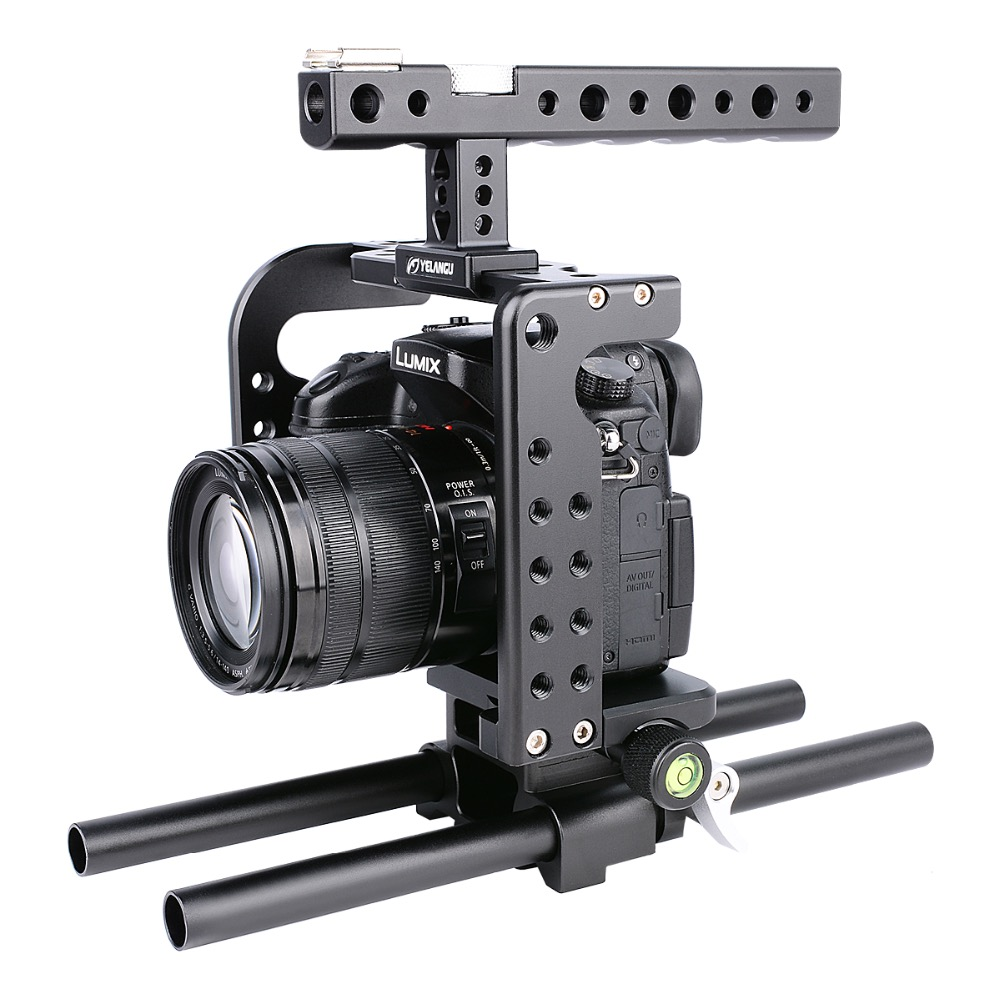 YELANGU C7 Video Dslr Camera GH5 Cage Black Aluminum Alloy with Top Handle Grip for panasonic GH5 yelangu aluminum alloy camera video cage kit film system with video cage top handle grip matte box follow focus for dslr