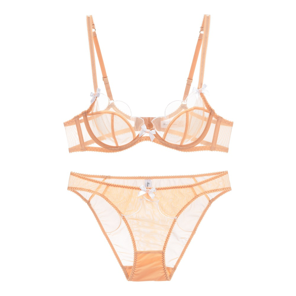 sexy mousse see through lace sexy women lingerie bra and briefs sets floral half cup big size underwire new arrival in Bra Brief Sets from Underwear Sleepwears