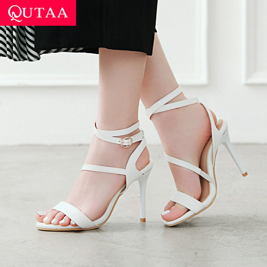 QUTAA 2019 Ladies Sandals Sexy Thin Super High Heel Cross-tied Round Open-toed Buckle Hollow Fashion Summer Shoes Size 34-43