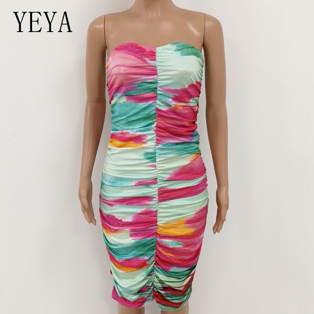 YEYA Printing Tie Dye Wrapped Chest Sleeveless Slim Dress Elegant Off Shoulder Bodycon Bandage Vintage Pencil Summer Dresses in Dresses from Women 39 s Clothing