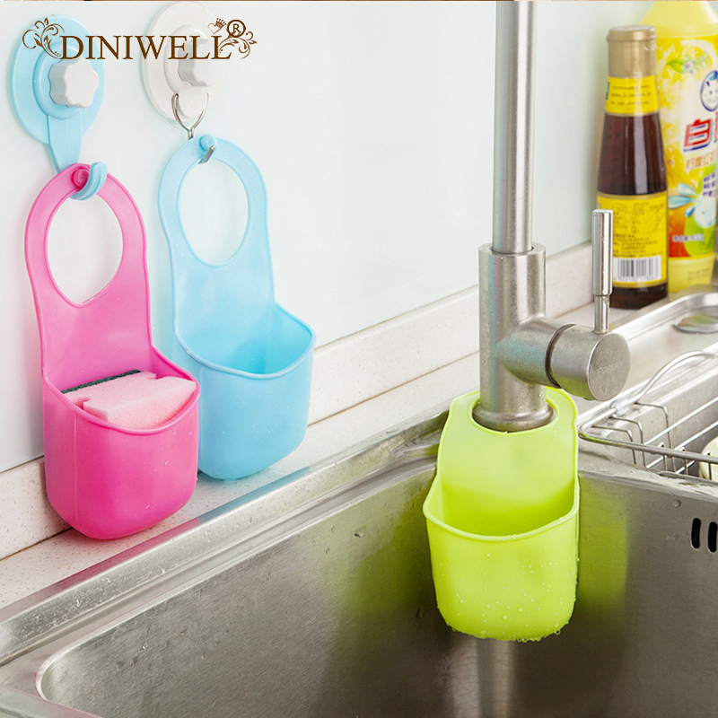 DINIWELL Novelty Home Kitchen Gadgets Bathroom Soap Toothbrush Razor Hanging PVC Plastic Storage Box Holder Sink Organizer image