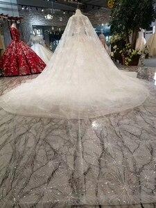 Image 2 - LS11233 فساتين زفاف أنيقة مع كيب طويل الخامس الرقبة بلا أكمام نمط تانك الخامس الظهر فساتين الزفاف الكرة ثوب