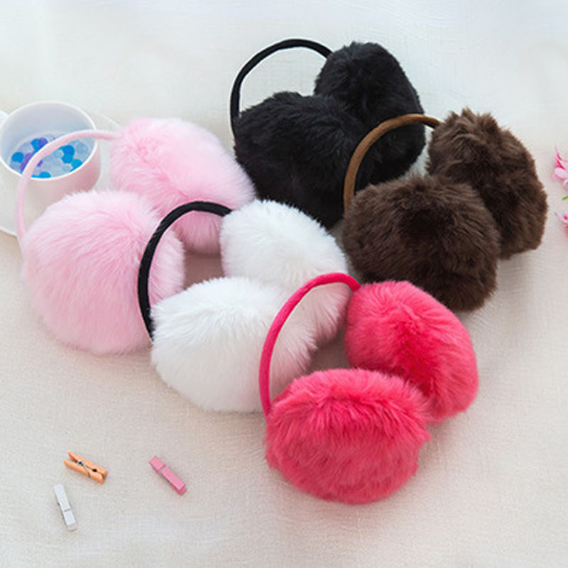 Solid Color Kids Ear Muffs Fluffy Soft Plush Cute Earmuffs Winter Accessories For Women Ear Warmers