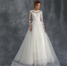Romantic Princess Illusion Long Sleeve O Neck Wedding Dress Exquisite Lace Appliques Bridal Gowns Vestido De Noiva 2019